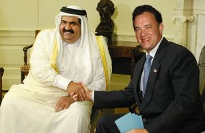 Hanks welcomes the emir of Qata, Sheikh Hamad-a al-Thani to the Oval Office